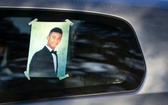 The picture of Willy Monteiro Duarte, the Italian  Cape Verdian  killed by a bunch of violent people on 05 September in Colleferro, exhibited on the hearse in Paliano, Italy, 12 September 2020. Willy Monteiro Duarte, a 21-year-old Cape Verdian-Italian man who was beaten to death by a gang in a town near Rome on 06 September 2020.  ANSA/MASSIMO PERCOSSI