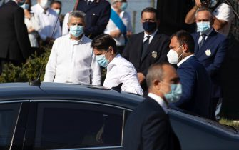 Italian Prime minister Giuseppe Conte arrives at the funeral of Willy Monteiro Duarte, the Italian Cape Verdian killed by a bunch of violent people in Colleferro, in Paliano, Italy, 12 September 2020. Willy Monteiro Duarte, a 21-year-old Cape Verdian-Italian man was beaten to death by a gang in a town near Rome on early 06 September 2020. ANSA/MASSIMO PERCOSSI