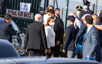 Italian Interior Minister Luciana Lamorgese  arrives at the funeral of Willy Monteiro Duarte, the Italian Cape Verdian killed by a bunch of violent people in Colleferro, in Paliano, Italy, 12 September 2020. Willy Monteiro Duarte, a 21-year-old Cape Verdian-Italian man was beaten to death by a gang in a town near Rome on early 06 September 2020. ANSA/MASSIMO PERCOSSI