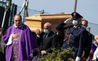 People carry the coffin of Willy Monteiro Duarte, the Italian Cape Verdian killed by a bunch of violent people in Colleferro, during his funeral in Paliano, Italy, 12 September 2020.  Willy Monteiro Duarte, a 21-year-old Cape Verdian-Italian man was beaten to death by a gang in a town near Rome on early 06 September 2020. ANSA/MASSIMO PERCOSSI