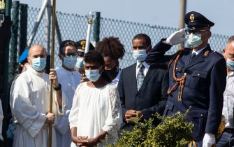 Willy's father, mother and his sister follow the coffin of Willy Monteiro Duarte, the Italian Cape Verdian killed by a bunch of violent people in Colleferro, in Paliano, Italy, 12 September 2020.  ANSA/MASSIMO PERCOSSI