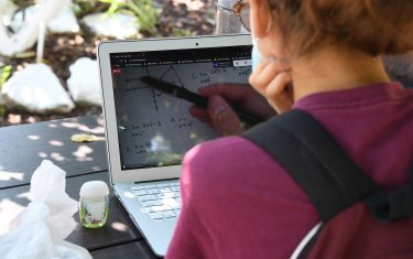 East College Prep High School senior Jocelyn Hernandez follows a remote Advanced Placement (AP) Calculus class while sitting in a community garden near her home, August 14, 2020 in the Boyle Heights neighborhood of Los Angeles, California. - Due to the continuing coronavirus pandemic all Los Angeles Unified School District (LAUSD) schools will be closed and students will return to class via remote learning when the 2020-21 school year starts on August 18, 2020. (Photo by Robyn Beck / AFP) (Photo by ROBYN BECK/AFP via Getty Images)