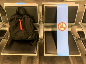 ROMA, ITALY - JUNE 04: Signal tapes to prevent sitting on some seats to maintain social distancing in the waiting room at Rome Fiumicino airport on June 04, 2020 in Roma, Italy. Many Italian businesses have been allowed to reopen, after more than two months of a nationwide lockdown meant to curb the spread of Covid-19. (Photo by Fabrizio Villa/Getty Images)