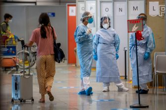 ROME, ITALY - AUGUST 25: Passengers arriving from high-risk countries wait to carry out rapid antigenic tests for Covid-19 at a testing station set up inside Leonardo Da Vinci airport, on August 25, 2020 in Fiumicino, Rome, Italy. The region has introduced mandatory COVID-19 tests for anyone arriving from Croatia, Greece, Spain and Malta to avoid a spike of new cases. (Photo by Antonio Masiello/Getty Images)