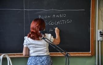 Metà classe in presenza e metà classe a casa collegata via web in streaming- Primo giorno di scuola al Liceo Scientifico Leonardo Da Vinci - Milano 14 Settembre 2020  Ansa/Matteo Corner