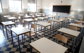 Una delle aule dell'istituto comprensivo di  Codogno, il comune in provincia di Lodi che per primo in Italia  stato dichiarato zona rossa a causa della pandemia da Covid19. Codogno (Lo), 14 Settembre 2020.ANSA / MATTEO BAZZI