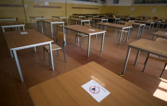 "TURIN, ITALY - SEPTEMBER 14: General view of empty school classroom with separate desks for social distancing measures in prevention of COVID 19 inside the ""Carlo Grassi"" Technical Industrial Aeronautical School on September 14, 2020 in Turin, Italy.  The Italian Ministry of Education has indicated the opening of state schools on September 14, 2020, the first day of state school after the Covid-19 pandemic. (Photo by Stefano Guidi/Getty Images)"