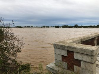 The bridge over the river Sesia, near Vercelli, 03 October 2020. The river has flooded because of the wave of bad weather that has hit the Piedmont region.   ANSA / Roberto Maggio
