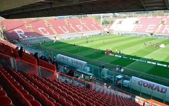 Stadio Curi deserto per Perugia-Salernitana di serie B a porte chiuse. Foto del collaboratore Riccardo Gasperini