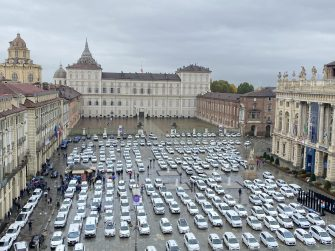Taxi drivers protest against the new anti-Covid-19 restrictions in Turin, Italy, 26 October 2020. Over 180 taxis have occupied Piazza Castello, in front of the headquarters of the Piedmont Region, to protest against the new anti-Covid measures adopted by the Government against bars and restaurants and the curfew decreed by the Piedmont Region starting this evening. ANSA/ ALESSANDRO DI MARCO