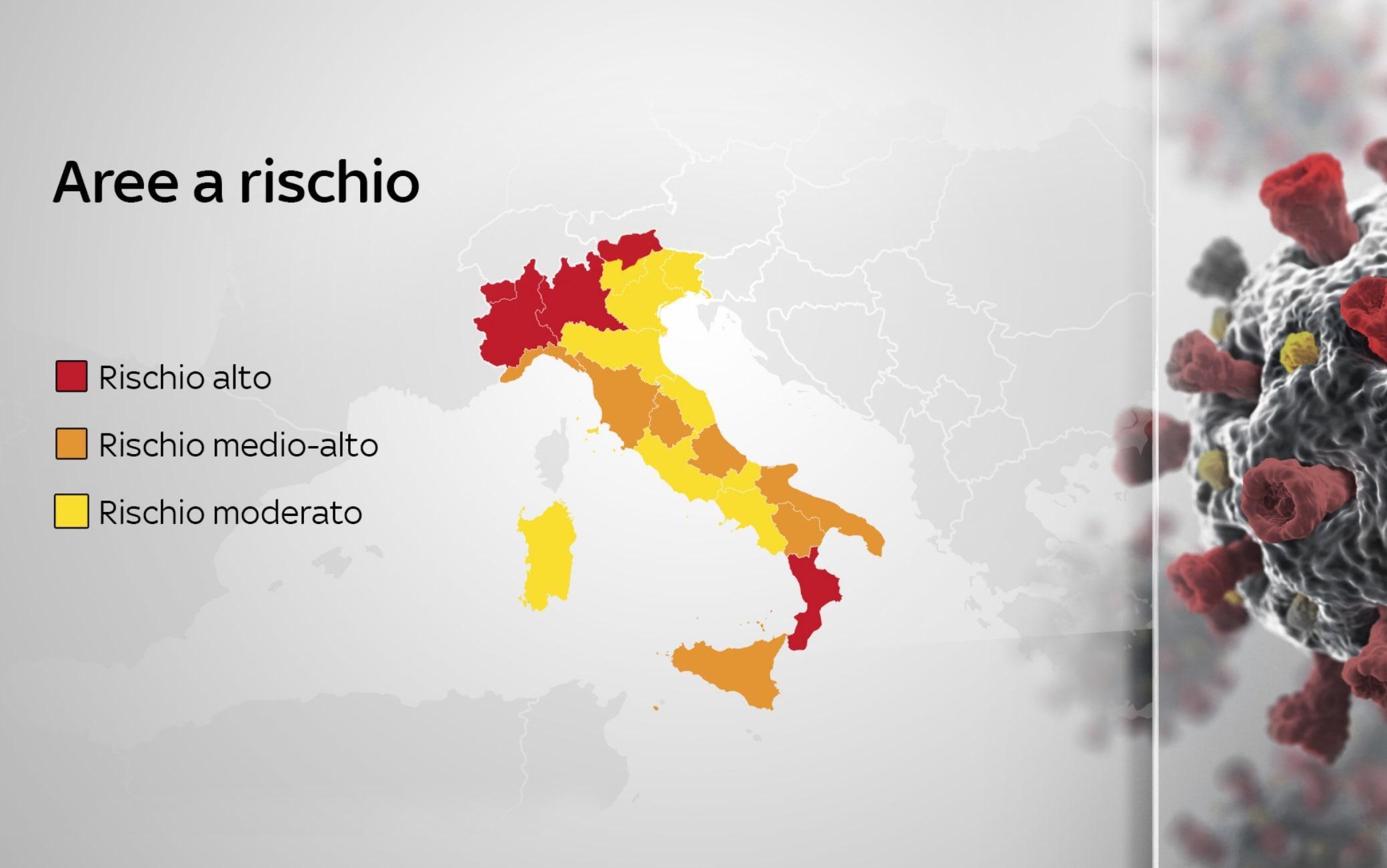 Cartina Italia Suddivisa In Regioni.Covid La Mappa Delle Regioni In Zona Rossa Arancione E Gialla Secondo Il Nuovo Dpcm
