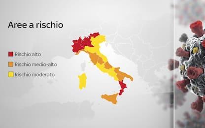 Covid: la mappa delle regioni in zona rossa, arancione e gialla