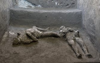 "The casts resurrect two bodies, master and slave: they are the almost intact bodies of two men, a forty-year-old wrapped in a warm wool cloak and his young slave already bent by the fatigues of life, the new exciting revelation of Pompeii, the fruit of an excavation that went on even in these hardest weeks of the pandemic and that ANSA Agency is able to document EXCLUSIVELY, Pompeii, 21 November 2020. ""A truly exceptional discovery - underlines enthusiastic director Massimo Osanna, who has also headed the general management since September 2020 of public museums - because for the first time after more than 150 years from the first use of the technique it was possible not only to create perfectly successful casts of the victims, but also to investigate and document with new technologies the things they had with them in the moment in which they were hit and killed by the boiling vapors of the eruption "". ANSA / LUCA SPINA / ARCHAEOLOGICAL PARK OF POMPEII