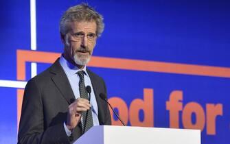 Guido Barilla (Presidente Fondazione BCFN) interviene al settimo Forum Internazionale su Alimentazione e Nutrizione organizzato da Barilla . Milano, 1 Dicembre 2016. ANSA/FLAVIO LO SCALZO