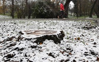 Una persona cammina in un parco di San Donato Milanese ricorperto di un leggero strato di neve, 2 dicembre 2020. ANSA/DANIEL DAL ZENNARO