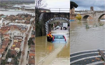Maltempo, a Roma la piena del Tevere, livello del Panaro in calo. FOTO