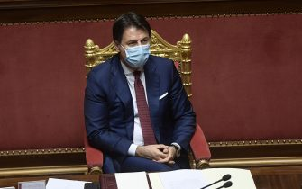 Giuseppe Conte durante la seduta del Senato (Roma - 2020-12-09, Luigi Mistrulli) p.s. la foto e' utilizzabile nel rispetto del contesto in cui e' stata scattata, e senza intento diffamatorio del decoro delle persone rappresentate