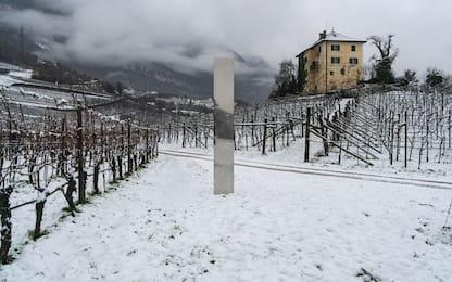 Un monolite appare tra le vigne dell'Alto Adige. FOTO