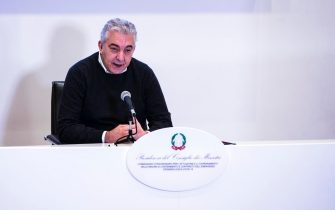 The Italian extraordinary Commissioner for the Covid-19 emergency, Domenico Arcuri, attends a press conference on the plan of the anti Covid vaccines campaign in Rome during the second wave of the Covid-19 Coronavirus pandemic?, Italy, 13 December 2020. ANSA/ANGELO CARCONI
