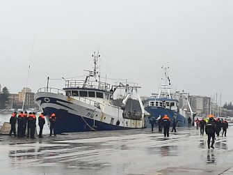 The two Italian fishing boats Antartide and Medinea, which carry on board the 18 fishermen of Mazara del Vallo freed on 17 December after being taken captive in early September and held in Libya since, arrive in Mazara del Vallo, Sicily island, southern Italy, 20 December 2020. ANSA/ FRANCESCO TERRACINA