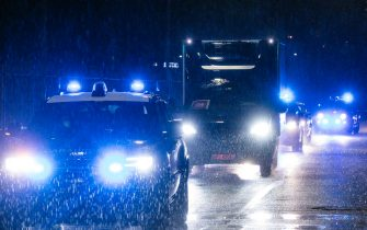 """Carabinieri escort the truck with the first 9,750 doses of Pfizer-BioNTech's Covid-19 vaccine at the barrack """"Salvo D'Acquisto"""", Multifunctional Command of the Carabinieri? in Rome, Italy, 25 December 2020. ANSA/ANGELO CARCONI"""