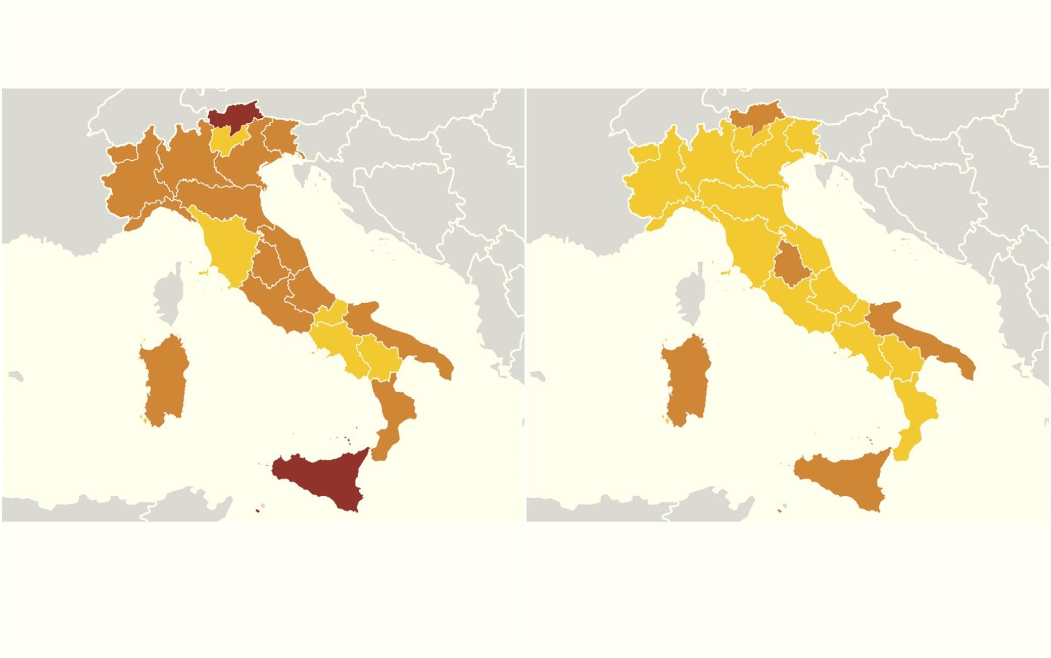 Cartina Lombardia Da Colorare.Le Regioni Che Cambiano Colore Da Lunedi 1 Febbraio Le Nuove Zone