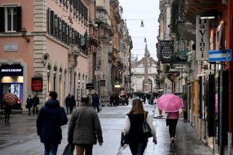 Few people for the city due to the rain in via del Corso in Rome, Italy, February 7, 2021. There were no criticalities due to the gatherings due to bad weather. ANSA/RICCARDO ANTIMIANI