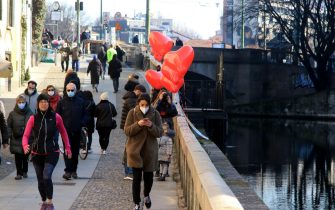 Heart-shaped balloons on the Navigli area  on the occasion of Valentine's Day, Milan, Italy 14 February 2021, Ansa / Paolo Salmoirago