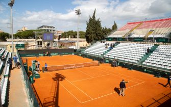 A general view of the Monte Urpinu central field of the Cagliari Tennis Club empty for ministerial decision on the coronavirus during the first play-off round of the Group II World Cup II between Italy and South Korea in Cagliari, 05 March 2020. Ansa/ Fabio Murru