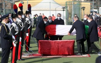 The funeral of Luca Attanasio in Limbiate, northern Italy, 27 February 2021. Italy's Ambassador to the Democratic Republic of Congo Luca Attanasio and Carabiniere police officer Vittorio Iacovacci were killed on 22 February while travelling from Goma to Rutshuru in the east of the African country where they were planning to visit a UN World Food Programme (WFP) school feeding programme. ANSA/ MATTEO BAZZI