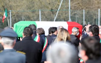 The funeral service of Ambassador Luca Attanasio, in Limbiate, northern Italy, 27 February 2021. Italy's Ambassador to the Democratic Republic of Congo Luca Attanasio and Carabiniere police officer Vittorio Iacovacci were killed on 22 February while travelling from Goma to Rutshuru in the east of the African country where they were planning to visit a UN World Food Programme (WFP) school feeding programme. ANSA/ MATTEO BAZZI
