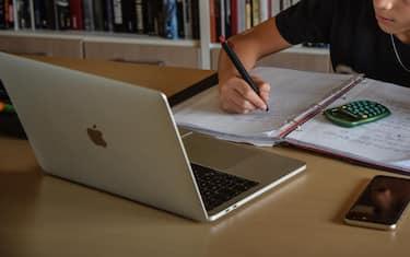 Un ragazzo fa i compiti davanti a un pc