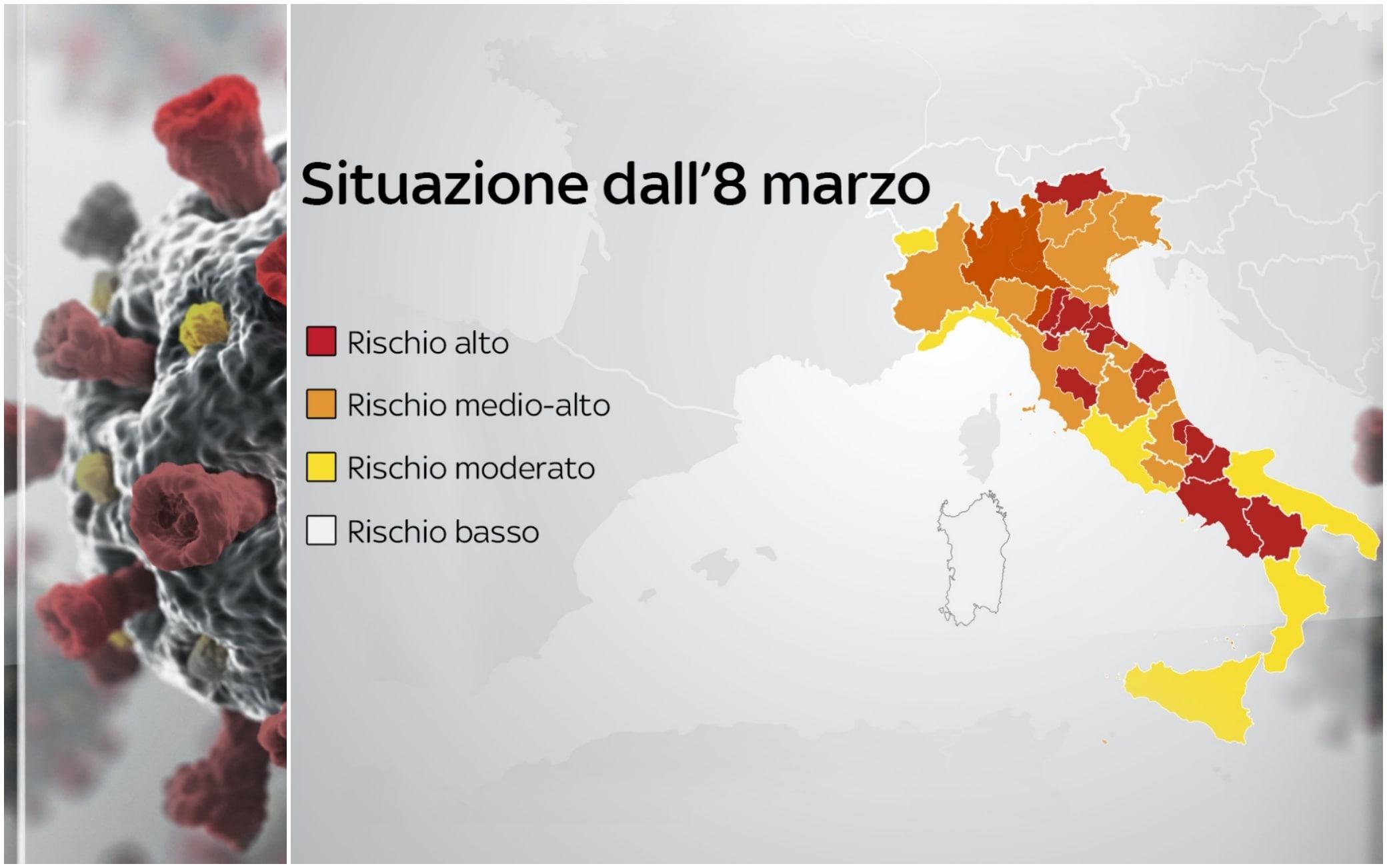 Cartina Politica Italia Con Capoluoghi Di Regione.Covid Le Regioni Cambiano Colore Ecco Cosa Si Puo E Non Si Puo Fare Sky Tg24