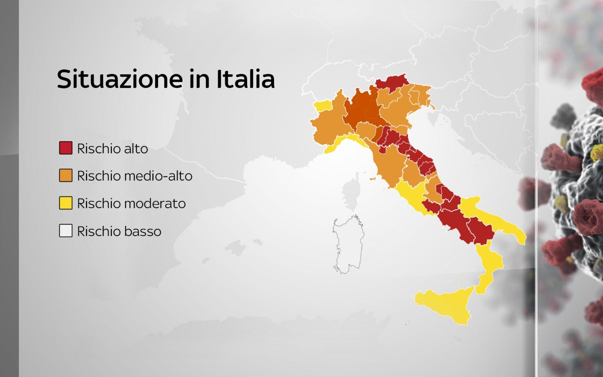 Cartina Italia E Province.Covid Tra Zone Rosse E Arancioni Scuro La Mappa Delle Restrizioni Locali In Italia Sky Tg24