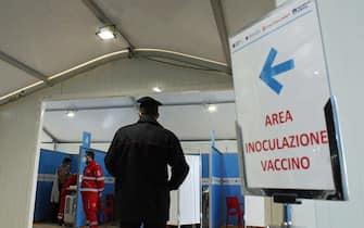 L'area di inoculazione vaccino a Fiumicino