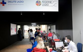 Un hub vaccinale della Regione Lazio