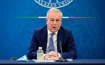 President of the Superior Health Council, Franco Locatelli, attends a press conference on vaccination plan to fight Covid-19 pandemic, Rome, Italy, 8 April 2021. ANSA/RICCARDO ANTIMIANI
