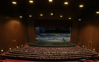 epa09095529 A view of the interior of the Al-Rasheed theater which is curently undergoing rehabilitation work, in Baghdad, Iraq, 23 March 2021 (Issued 25 March 2021). Baghdad's landmark Al-Rasheed theater was built in 1981, it is part of the nine floors Baghdad Cinema studios building and was the centre of theatrical and other art forms in the city, hosting Arab and European International shows and attracting Iraqis thirsty for the latest productions. The 700 seat theater was hit by allied forces airstrikes in 2003 followed by looting ransacking and burning actions which rendered it unusuable. While the country underwent political and religious strife, the priority of its rehabilittaion kept being pushed back until  May 2020 as workers of the Iraqi theater and Cinema department with donated funds volounteered to work on rebuilding it. The work has started with the theater part and is due to cover the Cinema Studios as well. World Theater Day is celebrated every year on 27 March.  EPA/MURTAJA LATEEF