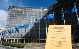 """The European Union unveils a vaccine passport scheme to allow free travel this summer and support the struggling tourism sector, despite disagreement between member states over the proposal on Wednesday, March 17, 2021, in Brussels, Belgium. The European Commission proposed a """"digital green certificate"""" that would combine information on vaccination, Covid-19 tests and recovery to allow people to take flights and cross borders within the bloc. The proposal will need to be approved by the European Parliament and member states. The Commission hopes approval will be granted in June, in time for the summer season. Photo by Monasse T/ANDBZ/ABACAPRESS.COM"""