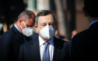 Italian Prime Minister Mario Draghi at the Tomb of the Unknown Soldier during celebration for the 76th Liberation Day, in Rome, Italy, 25 April 2021. ANSA/GIUSEPPE LAMI