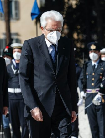 Italian President Sergio Mattarella at the Tomb of the Unknown Soldier during celebration for the 76th Liberation Day, in Rome, Italy, 25 April 2021. ANSA/GIUSEPPE LAMI