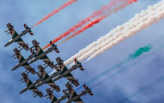 Italian Air Forces aerobatic demonstration team, the Frecce Tricolori, fly over Rome on the occasion for the 76th Liberation Day, in Rome, Italy, 25 April 2021. ANSA/GIUSEPPE LAMI