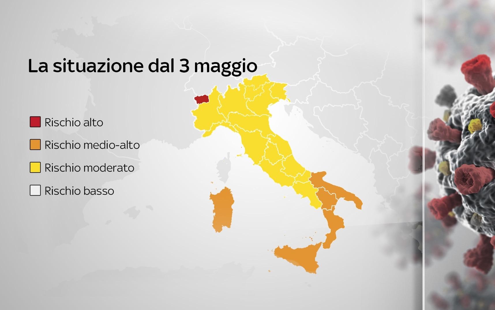 Lavello Potenza Cartina Geografica.Nuovi Colori Regioni Oggi La Mappa Sky Tg24