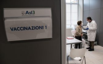 A patient during the Silver Vaccino Day, in Genoa, Italy, 12 February 2021. From Monday elderly people over eighty can book vaccinations for Covid-19.  ANSA/LUCA ZENNARO