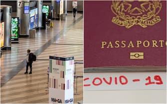 L'immagine di un passaporto e di alcuni passeggeri in un aeroporto in vista dell'entrata in funzione del certificato digitale Covid19 europeo