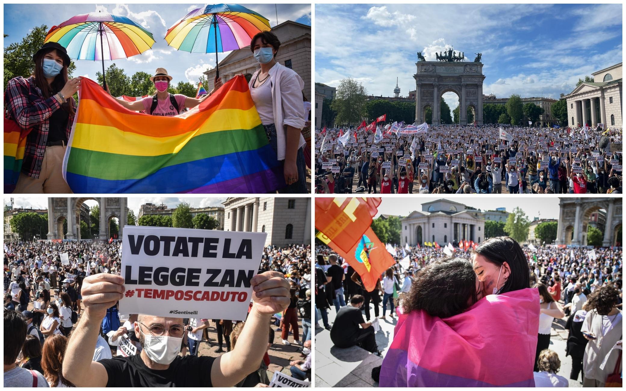 Milano, manifestazione per chiedere l'approvazione del ddl Zan. FOTO | Sky  TG24
