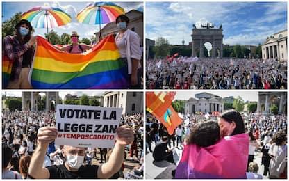 Milano, manifestazione per chiedere l'approvazione del ddl Zan. FOTO