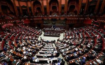 L'aula della Camera durante l'esame dell'ordine del giorno sul coprifuoco, Roma, 26 Aprile 2021. ANSA/GIUSEPPE LAMI