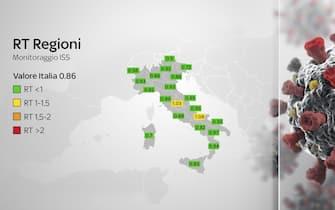 Mappa dell'Italia con rt delle singole regioni