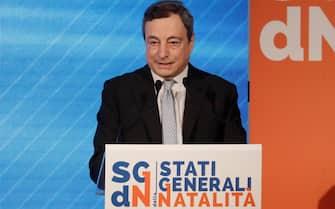 Mario Draghi interviene agli Stati generali della natalità all'Auditorium della Conciliazione a Roma